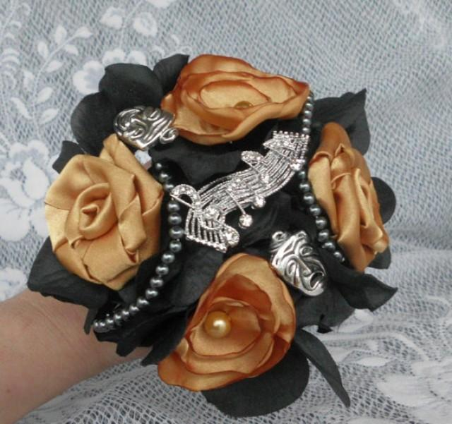Gold And Black Bouquet Brooch Bouquet Broche Bouquet Fabric Flower Bouquet Satin Pearls