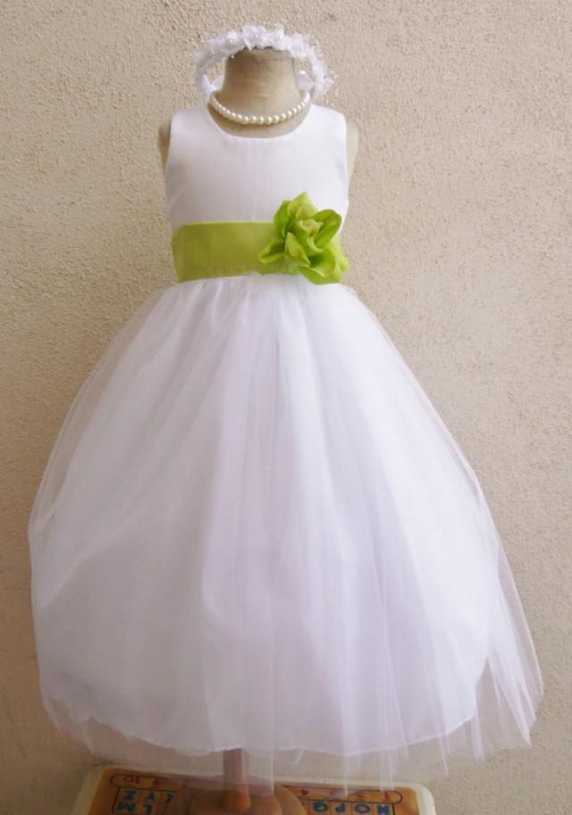 Flower Girl Dresses White With Green Lime Fd0rbp