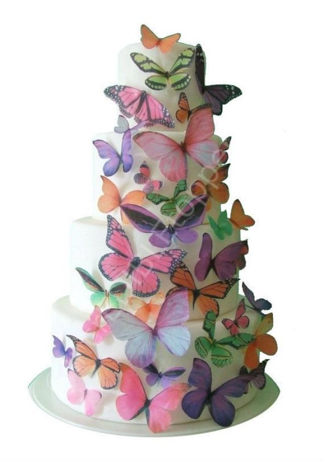 Cake Decorations Edible Photos : IncrEDIBLE Toppers - Ombre Edible Butterflies In Pink ...