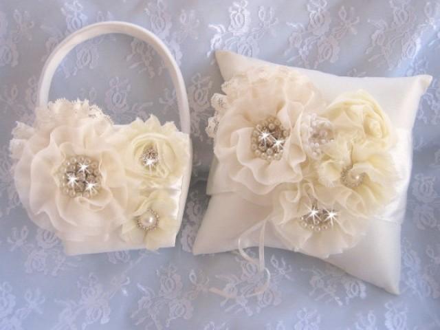 lavish flower girl basket ring bearer pillow flower girl basket set wedding pillow elegant and. Black Bedroom Furniture Sets. Home Design Ideas