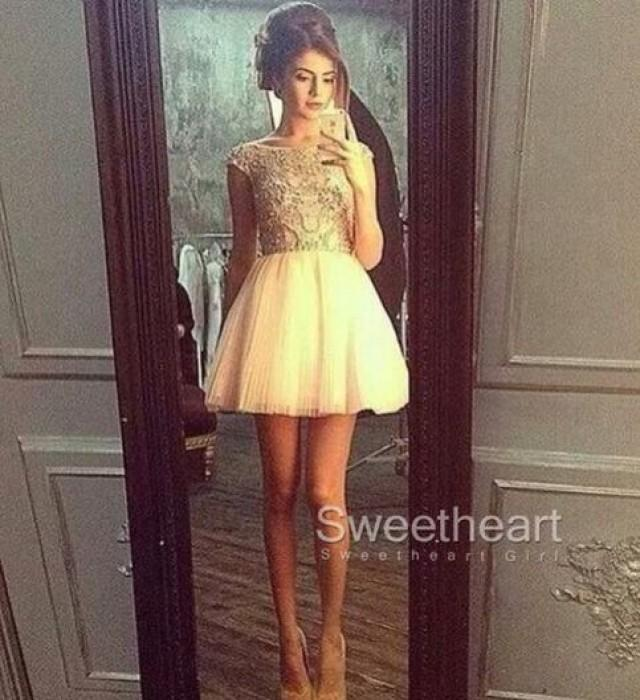 wedding photo - White A-line Tulle Short Prom Dress,Homecoming Dress from Sweetheart Girl