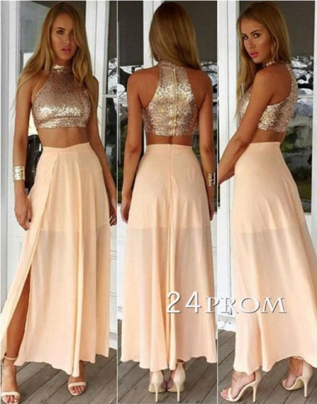 wedding photo - Champagne 2 Pieces Chiffon Sequined Long Prom Dress - 24prom