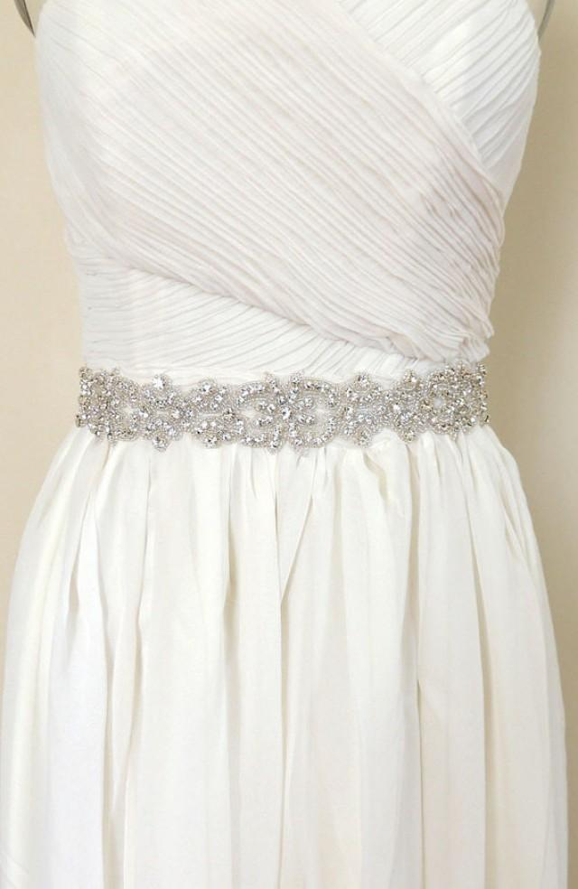 Rylee crystal bridal belt sash rhinestone wedding gown for Rhinestone sashes for wedding dresses