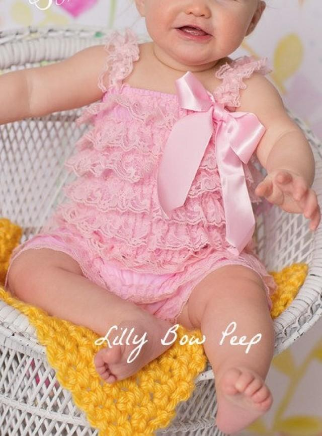 Light pink lace petti romper baby girl outfit preemie newborn infant