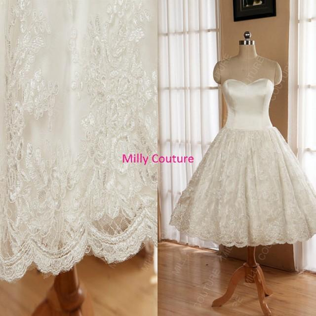 Wedding Dresses Lace Full Skirt : Strapless lace wedding dress full circle skirt short