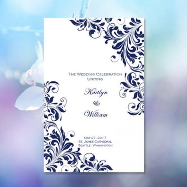 Catholic Church Wedding Program Kaitlyn Navy Blue  X  Fold