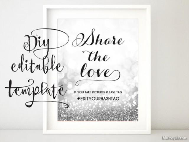Printable Hashtag Sign TEMPLATE Diy Wedding Hashtag Sign Share The - Free wedding sign templates