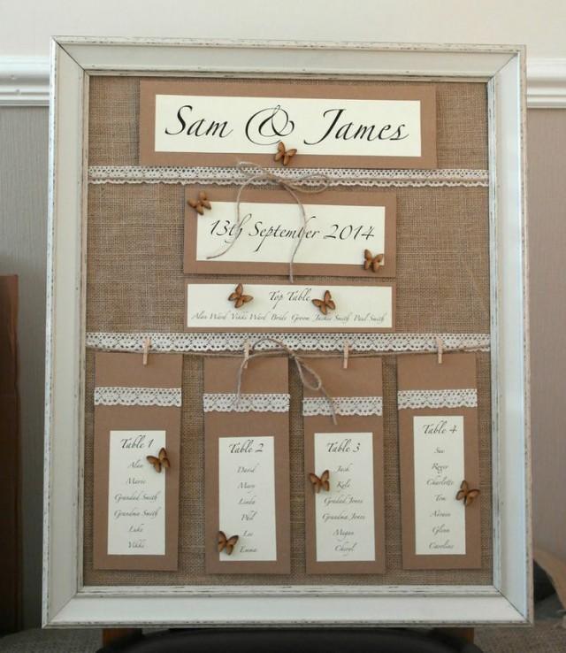 Vintage Wedding Table Plan Ideas: Handmade Wedding Table Plan Vintage Style Personalised
