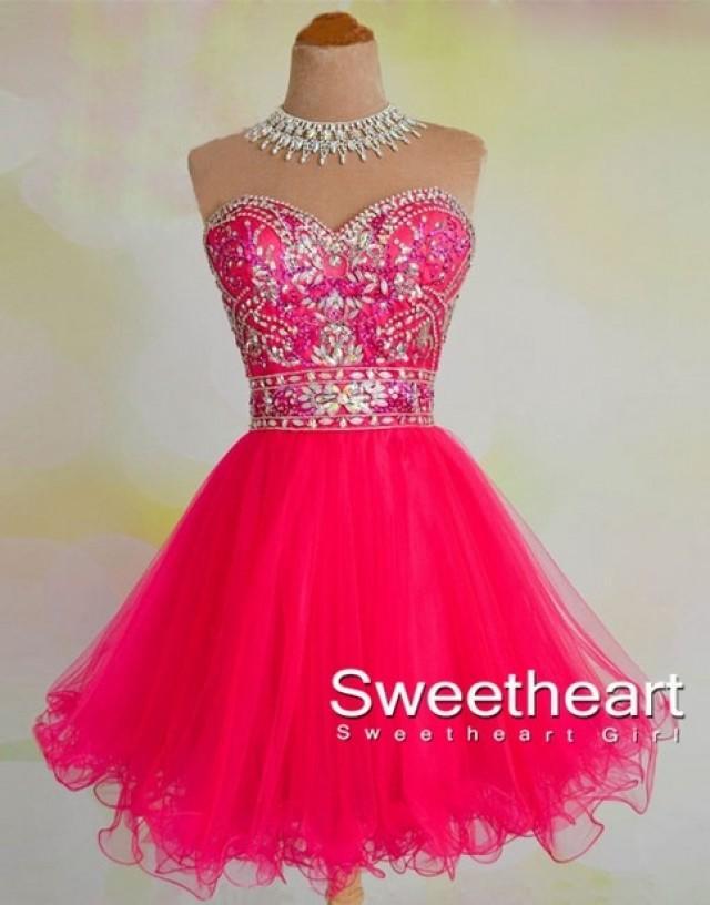 wedding photo - A-line Sweetheart Rhinestone Short Prom Dress, Homecoming Dress from Sweetheart Girl