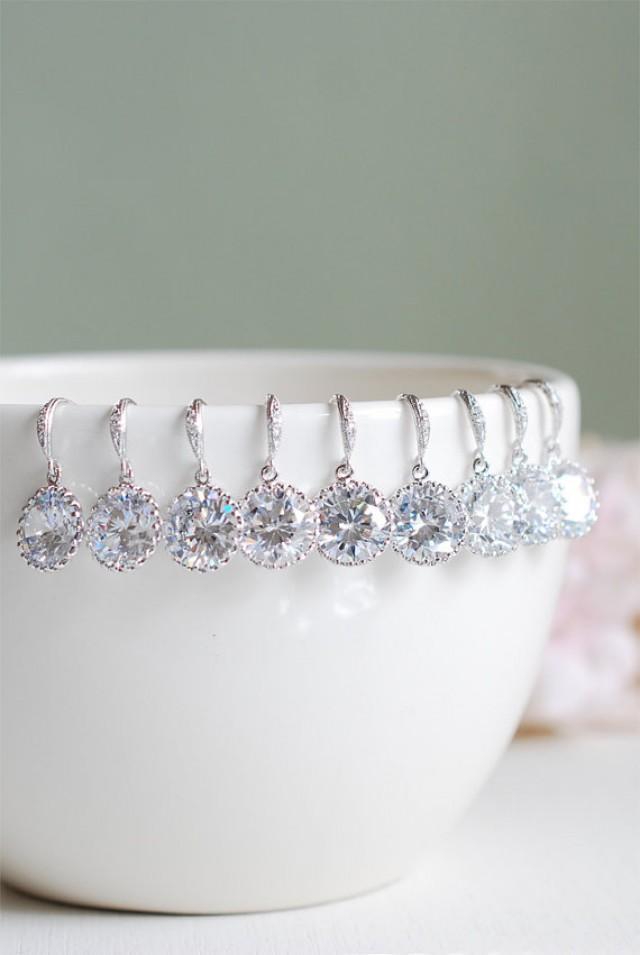 Set Of 6 Six Pairs Bridal Earrings Wedding Earrings