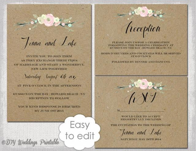 rustic wedding invitation templates diy rustic flowers printable wedding invitation template. Black Bedroom Furniture Sets. Home Design Ideas