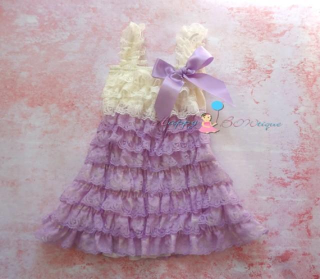wedding photo - Flower girls dress- Girls Dress- Ivory Lilac Lace Dress,ruffle dress,baby dress,Birthday dress,Ivory Dress Lavender dress,baby girls,Wedding