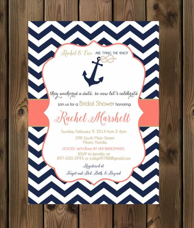 Anchor Wedding Ideas: Navy And Coral Wedding Shower Invitations
