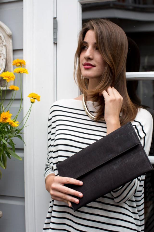 Black Clutch Bag/ Minimalist Cork Bag/ Black Oversized Clutch ...