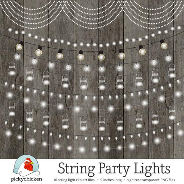 String Lights Clipart, Chalkboard Party Lights, Wedding Lights, Fairy Lights, Birthday Banner ...