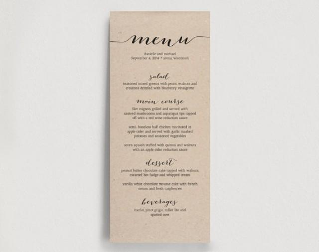 printable wedding menu templates .