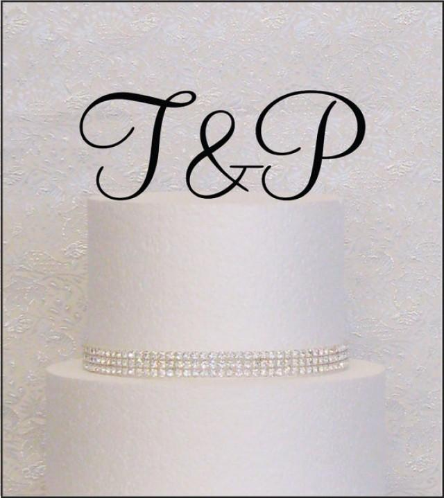 Script Initials Monogram Wedding Cake Topper In Black Gold Or Silver 2349656