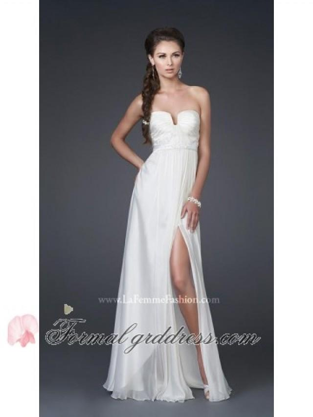 Ivory strapless plunging v neck pleated long front slit for V neck strapless wedding dress