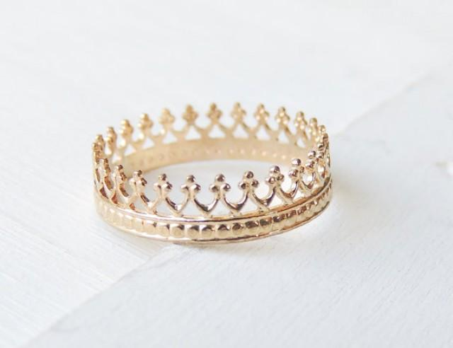 crown ring 14k gold ring wedding ring delicate gold ring 14k gold band