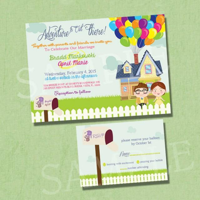 UP Wedding Invitation Set Featuring Carl And Ellie Their Mailbox Ellies House Inspired By Disney Movie 4x6 Or 5x7 Inches