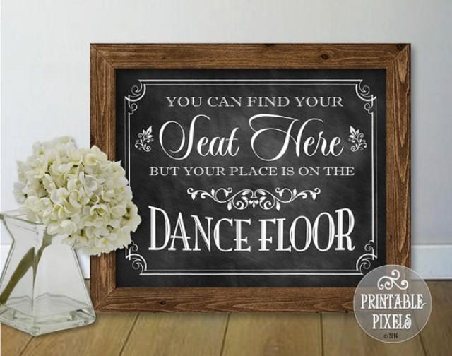 You Can Find Your Seat Here Wedding Sign 1c Chalkboard