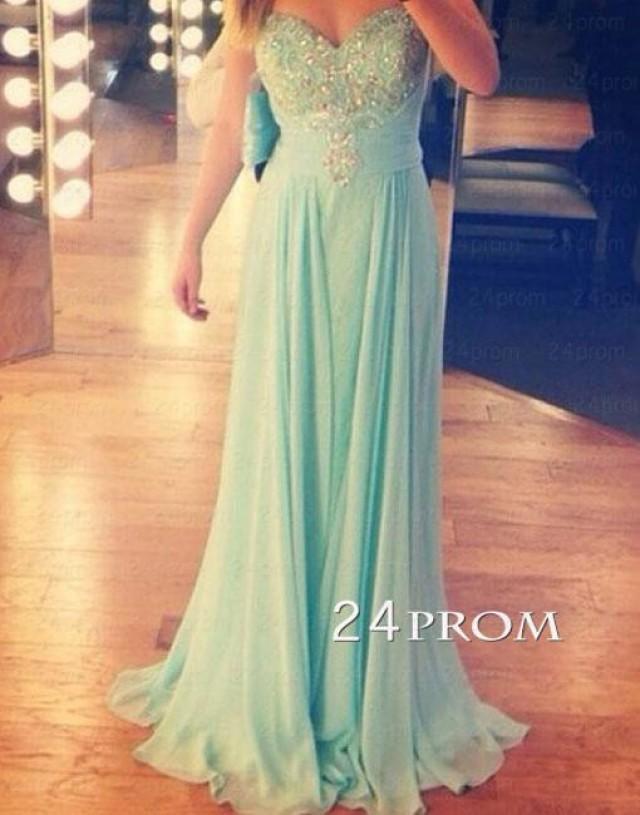 wedding photo - Sweetheart A-line Green Long Prom Dress,Formal Dresses - 24prom