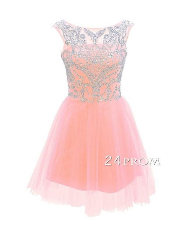 wedding photo - Pink A-line Round Neck Tulle Short Prom Dress, Homecoming - 24prom