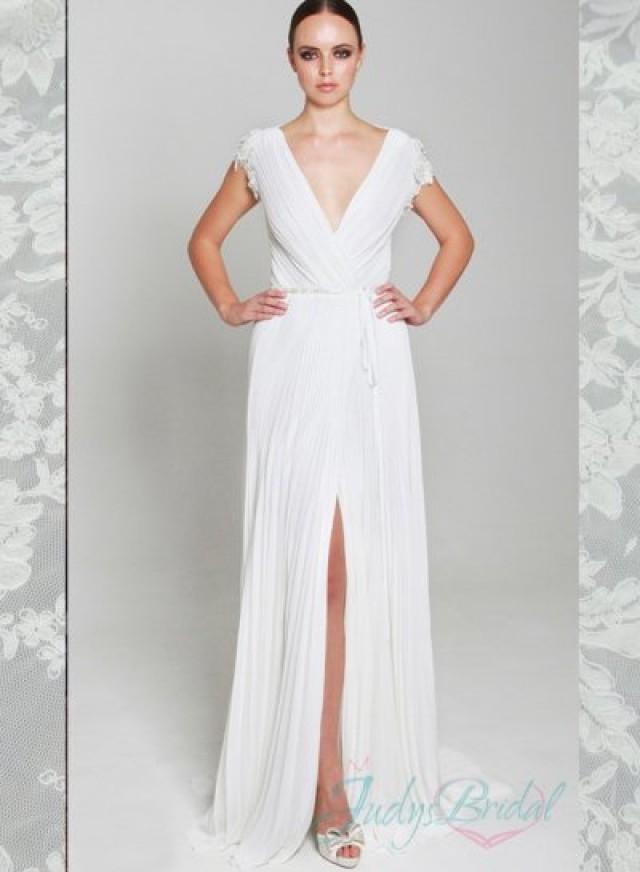 Sexy deep v neck illusion lace back slit chiffon wedding for Deep back wedding dress