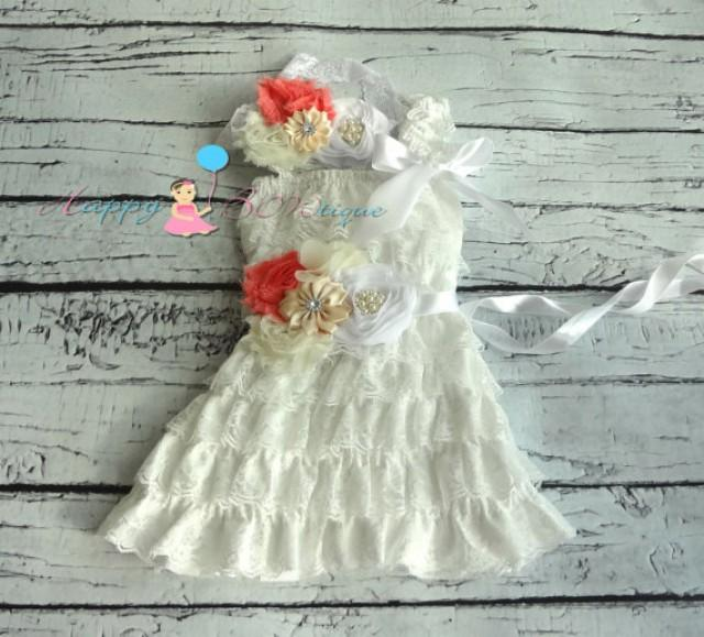 wedding photo - Vintage White Coral Lace Dress, Flower girls dress,Ivory Lace Dress, baptism dress,baby dress, Birthday outfit, baby Christening,wedding