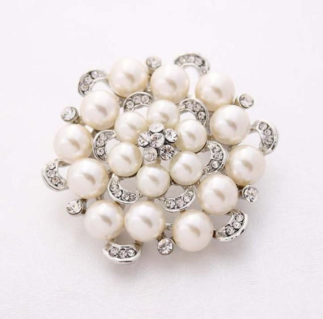 Rhinestone Pearl Wedding Brooch Embellishment Crystal