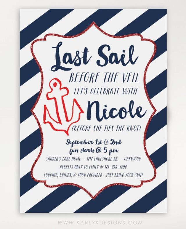 Last Sail Before The Veil Bachelorette Party Invitation ...