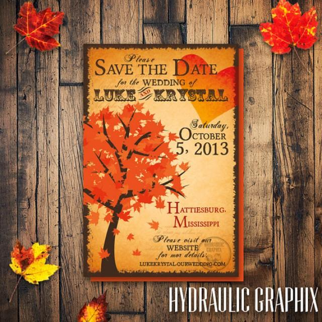Fall Tree Save The Date Fall Wedding Invitation Fall