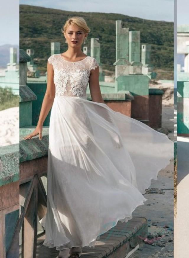 Jw16060 light and airy lace cap sleeves beach summer for Summer wedding beach dresses
