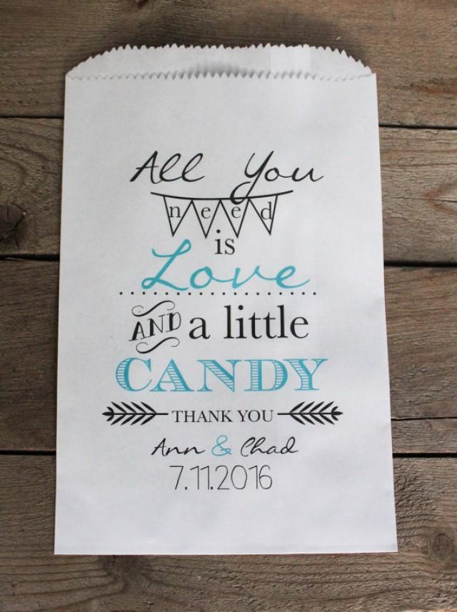 wedding photo - All You Need is Love Wedding Favor Bags-Candy Buffet Bags-Wedding bags Personalized