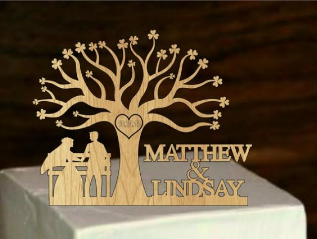 wedding photo - Wedding Cake Topper Silhouette and custom Mr & Mrs Personalized with first Name rustic wedding cake topper , bride and groom - Tree of life
