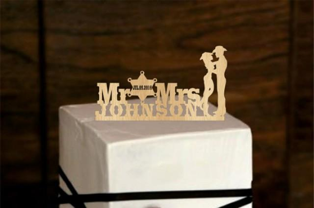 wedding photo - Cowboy Personalized Cake Topper - rustic Wedding Cake Topper - Monogram Cake Topper - deer cake topper - redneck - Bride and Groom, western