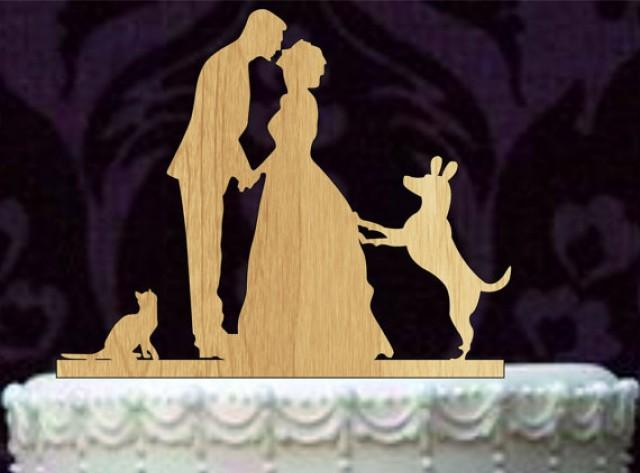 wedding photo - Bride and Groom silhouette wedding Cake Topper with Cat and Dog, Rustic Wedding Cake Topper, unique wedding cake topper, funny cake topper