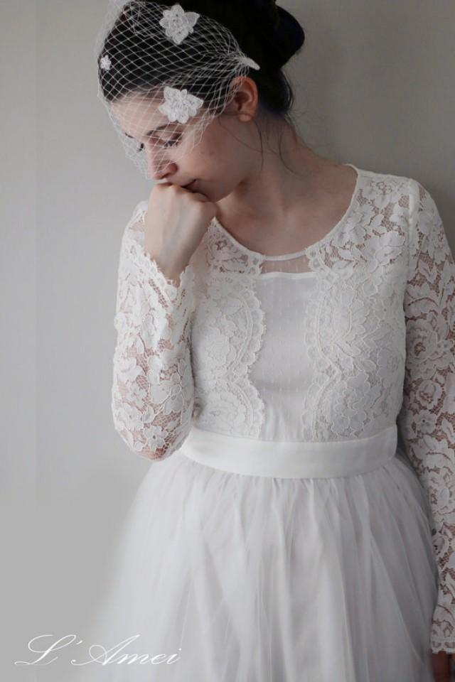 Long Sleeve Wedding Dress Affordable : Affordable and elegant lace boho vintage long sleeve wedding bridal