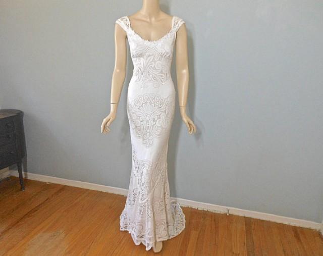 Off white mermaid wedding dress bohemian romantic for Bohemian mermaid wedding dress
