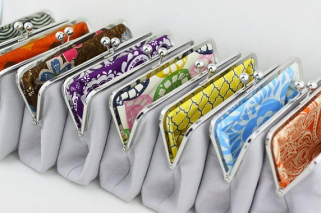 wedding photo - Solid Gray Bridesmaid Clutches with Colourful Lining / Design Your Own Clutches / Wedding Clutches - Set of 6