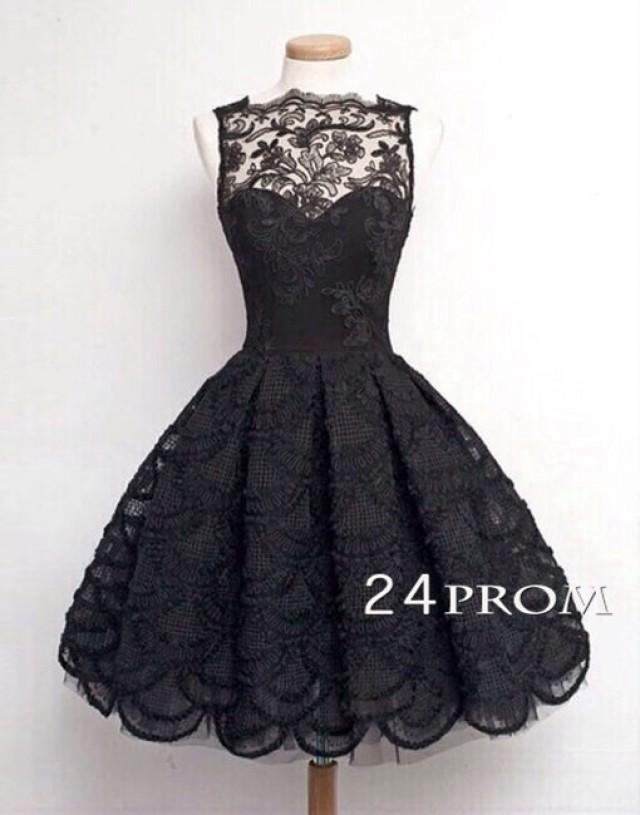 wedding photo - Black A-line Lace Short Prom Dress, Homecoming Dresses - 24prom