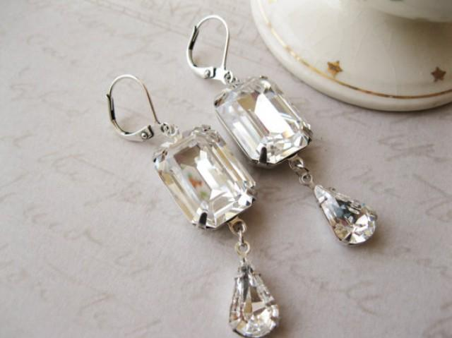 Art Deco Style Crystal Drop Earrings Vintage Style Rhinestone Wedding Earrings Old Hollywood