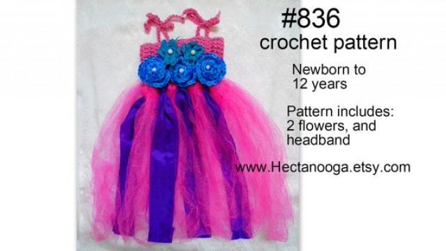 Crochet Pattern For Flower Girl Dress : CROCHET PATTERN - Tutu And Headband, Flower Girl Dress ...