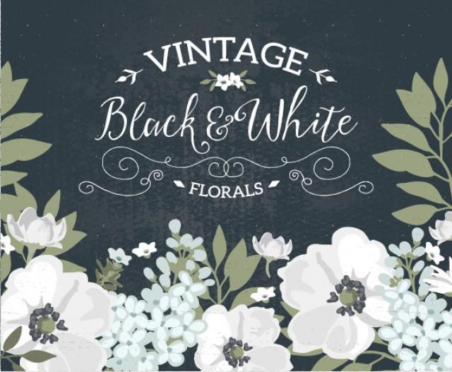 Vintage Black And White Floral Wedding Invitation Clip Art ...