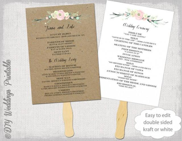 Wedding program fan template quotrustic flowersquot diy kraft or white order of ceremony printable fan for Diy wedding program fan template