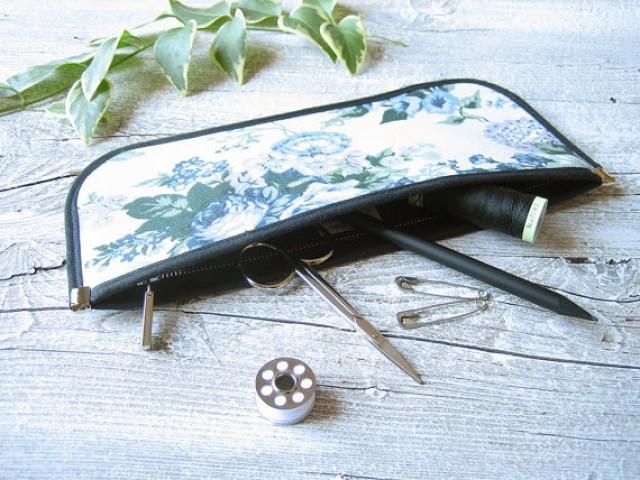 Blue Flowers Zipper Pouch, Pencil Case Handmade In Cotton ...