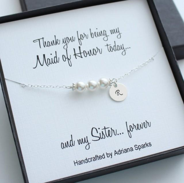 Personalized Maid Of Honor Gifts, Personalized Pearl Bracelet, Initial ...