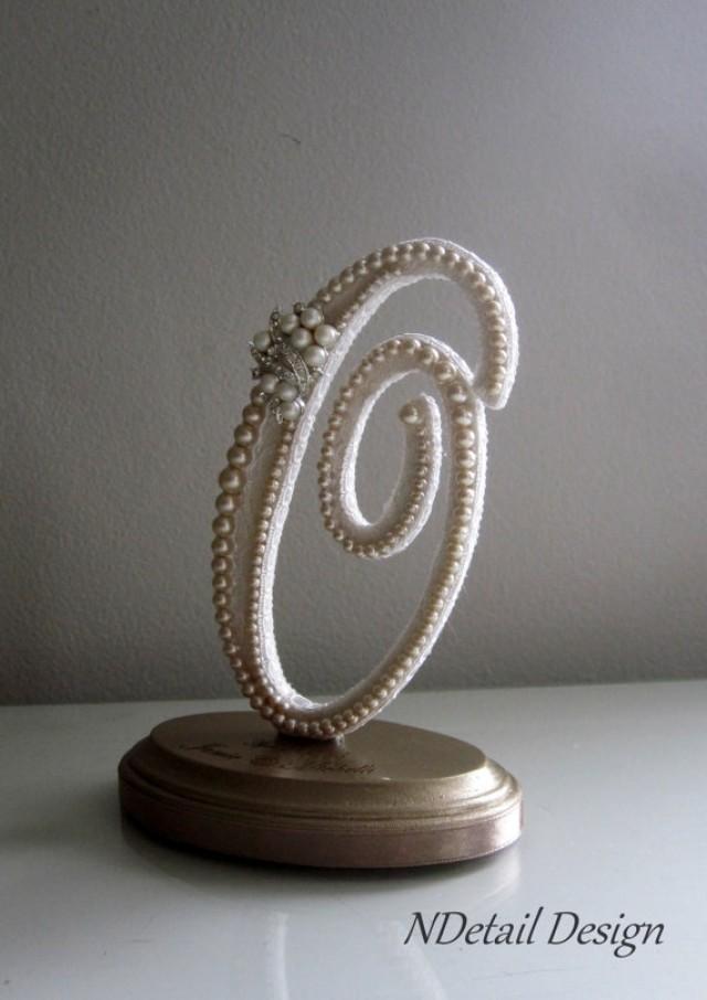 Wedding Cake Topper Custom Monogram Letter O Vintage Ivory Pearls Lace Amp Pearl Earring For