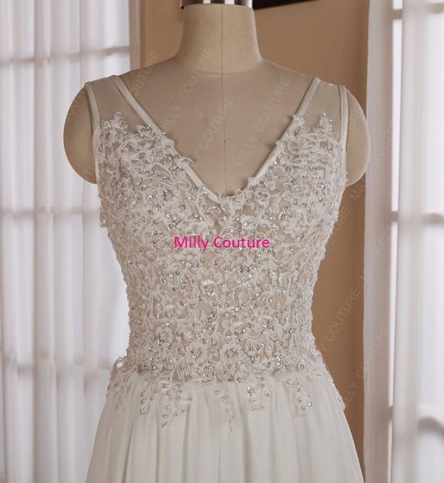 Low back wedding dress chiffon lace wedding dress low for Beach wedding dress low back