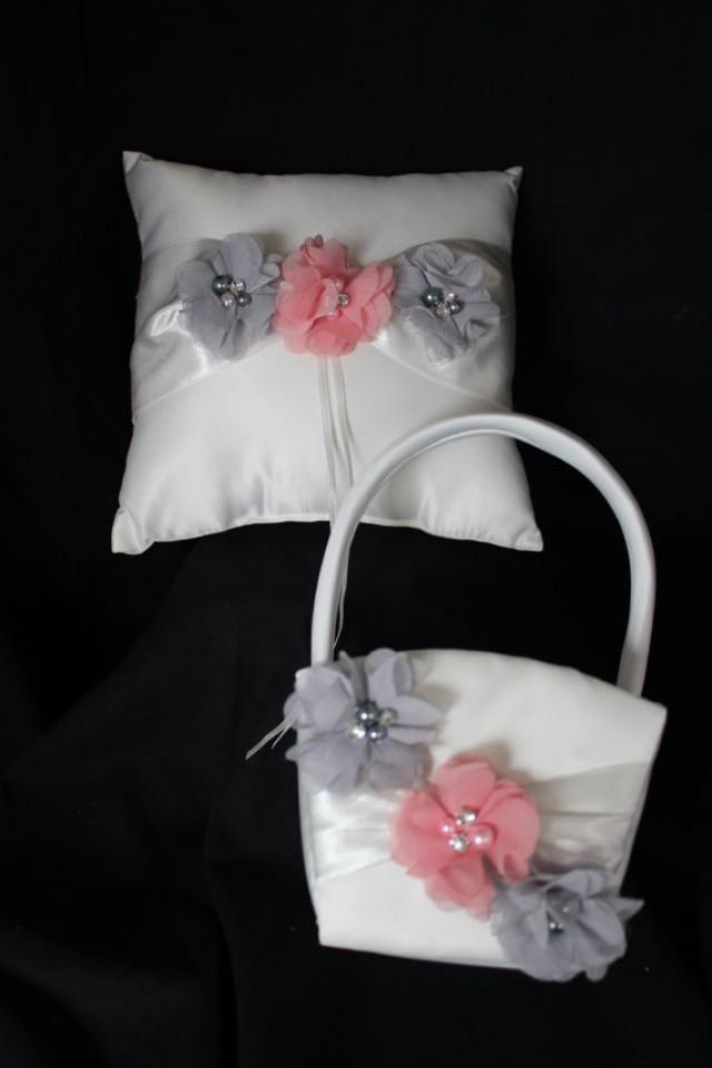 Flower Girl Basket Gray : Ivory ring bearer pillow flower girl basket gray and lt